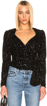 ATTICO Long Sleeve Sequined Wrap Top in Black | FWRD