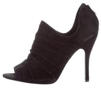 Elizabeth and James Ruched Peep-Toe Booties