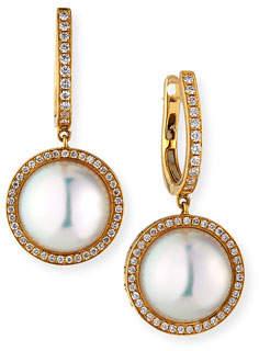 BELPEARL 18k Pearl-Drop Diamond-Halo Earrings