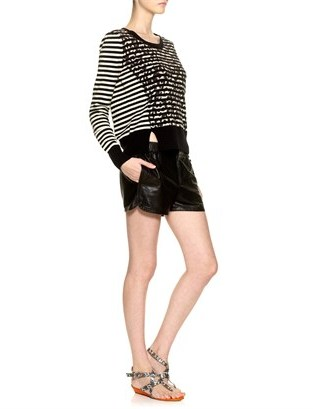 Thakoon Black Leather Sport Shorts