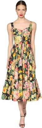 Dolce & Gabbana Floral Printed Poplin Midi Dress