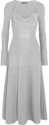 Alexander McQueen - Metallic Ribbed Stretch Wool-blend Midi Dress - Silver