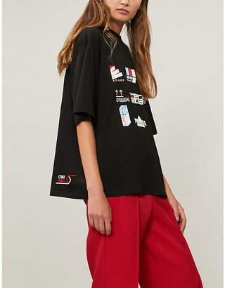 Prada Logo sticker print cotton T-shirt