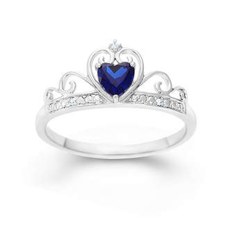 FINE JEWELRY Sterling Silver Lab Created Blue Sapphire & Simulated Diamond Crown Ring