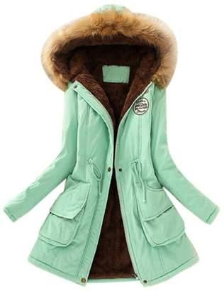 XILALU Womens Warm Long Coat Fur Collar Hooded Jacket Slim Winter Parka Outwear Coats (3XL, )