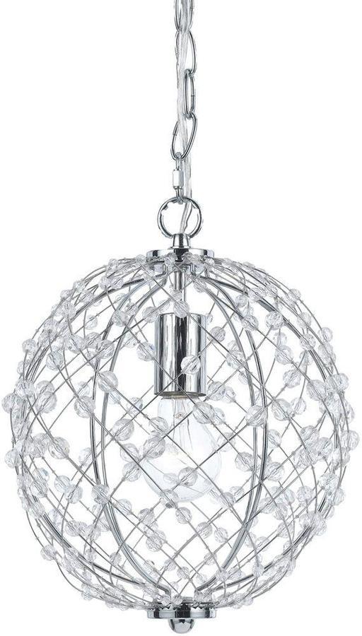 AF LightingAF Lighting Silver Web 1-Light Polished Chrome Pendant with Plastic Bead Accents
