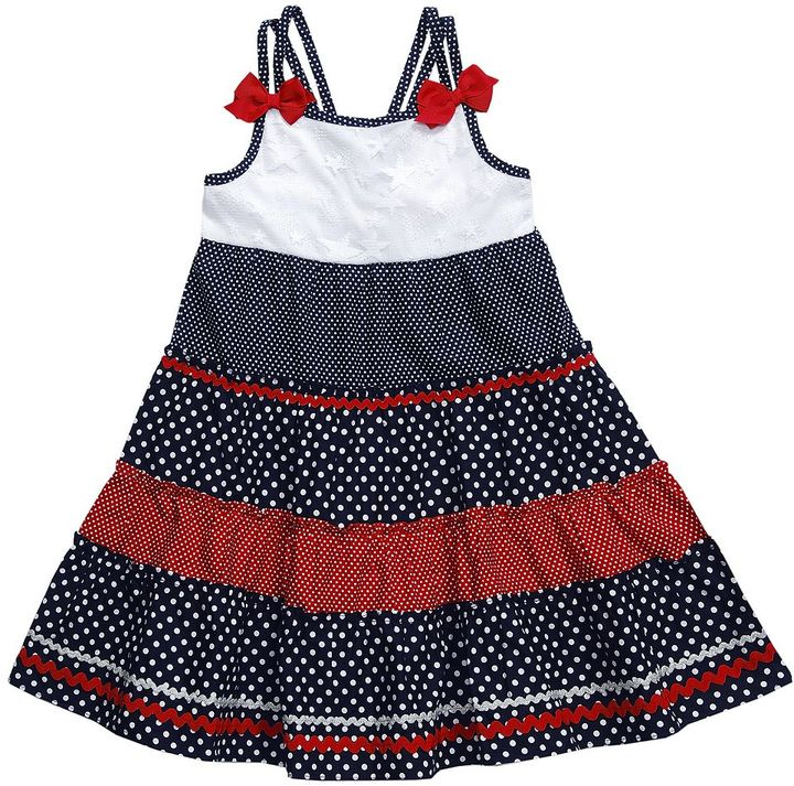 Youngland star & dot tiered sundress - girls 4-6x