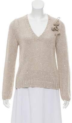 Brunello Cucinelli Embellished V-Neck Sweater