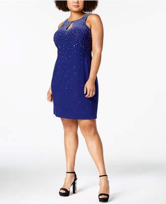 Morgan & Company Trendy Plus Size Embellished Keyhole Sheath Dress