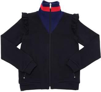 Gucci Ruffled High Collar Cotton Sweatshirt