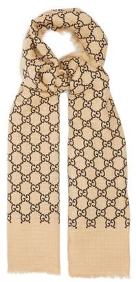 Gucci Gg Print Linen Blend Scarf - Womens - Black