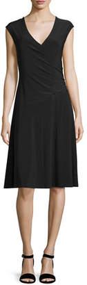 Nic+Zoe Cap-Sleeve Faux-Wrap Dress, Petite