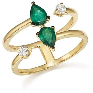 Bloomingdale's Emerald and Diamond Double Row Ring in 14K Yellow Gold - 100% Exclusive