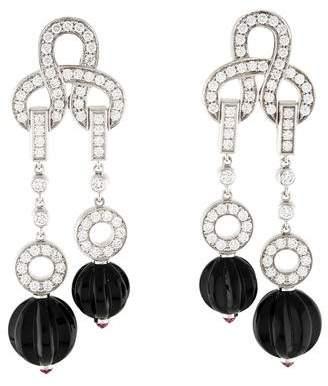 Cartier Agrafe Onyx, Tourmaline, & Diamond Earrings