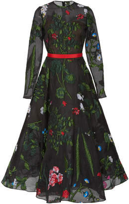 Oscar de la Renta Floral Appliqué Silk-Blend Midi Dress
