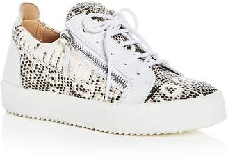 Giuseppe Zanotti Women's May London Snake Embossed Leather Platform Lace Up Sneakers