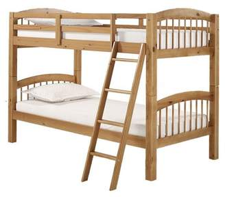 Alaterre Spindle Twin Over Twin Bunk Bed, Chestnut