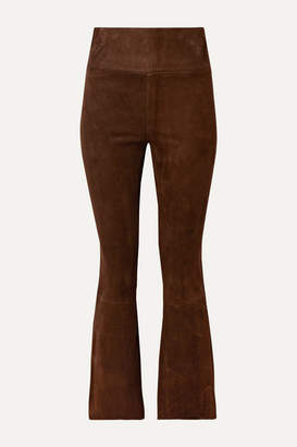 Sprwmn Cropped Suede Flared Pants - Chocolate