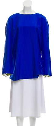 Adrienne Vittadini Long Sleeve Silk Tunic Royal Long Sleeve Silk Tunic