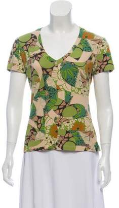 John Galliano Floral Print Short-Sleeve Top