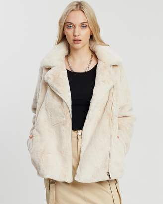 Missguided Faux Fur Biker Jacket