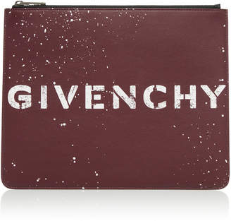 Givenchy Graffiti-Print Large Leather Pouch