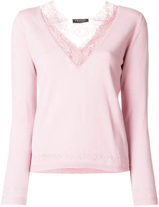 Twin-Set lace v-neck top