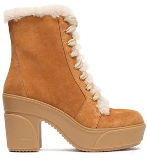 See by Chloe Emily Shearling-trimmed Suede Platform Ankle Boots