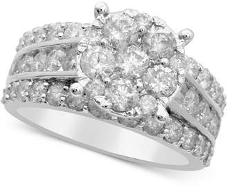 Macy's Diamond Cluster Engagement Ring (3 ct. t.w.) in 14k White Gold