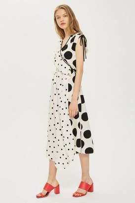Topshop Mix Spot Ruched Midi Wrap Dress