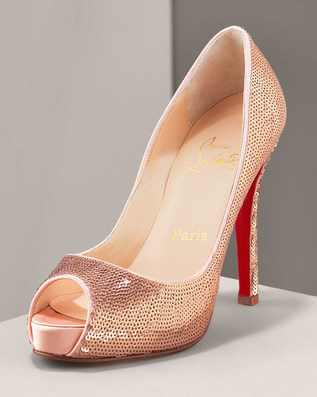 Christian Louboutin Sequin Peep-Toe Pump