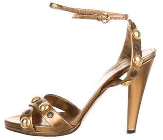 Gucci Metallic Studded Sandals