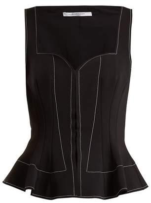 Givenchy Sweetheart Neck Peplum Top - Womens - Black