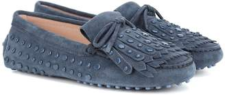 Tod's Gommino studded suede loafers