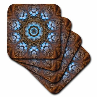 3dRose Lizard Circle Ring Mandala - Soft Coasters, set of 8