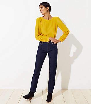 LOFT Tall Curvy Straight Leg Jeans in Dark Rinse Wash