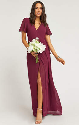 Show Me Your Mumu Noelle Flutter Sleeve Wrap Dress ~ Merlot Chiffon