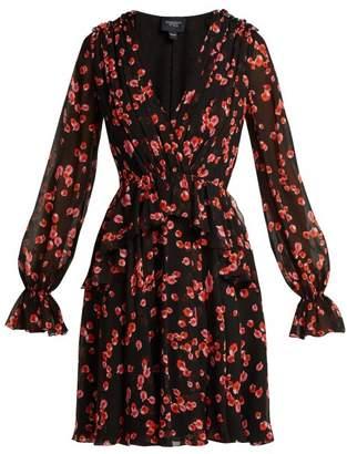 Giambattista Valli Petal Print Silk Dress - Womens - Black Multi