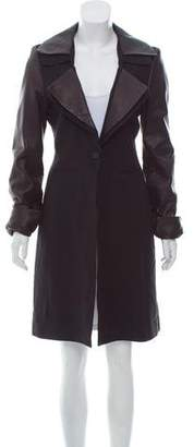 Strateas Carlucci Leather-Paneled Virgin Wool Coat w/ Tags