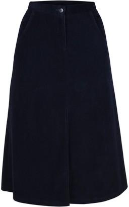 Muza A-Line Corduroy Knee Length Skirt With Slit