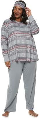Croft & Barrow Plus Size Printed 3-piece Tee & Pants Pajama Set