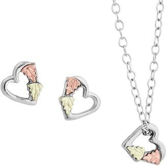 Black Hills Heart Pendant & Earrings Set Sterling, 12K