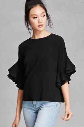 Forever 21 Oversized Ruffle Sleeve Top