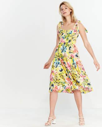 acfcc4364ba6 Eliza J Hibiscus Self-Tie Strap Midi Dress