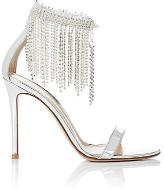 Gianvito Rossi Women's Crystal-Fringed Specchio Leather Sandals - Silver