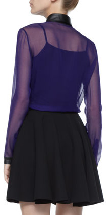Robert Rodriguez Leather-Waist Pleated Skirt