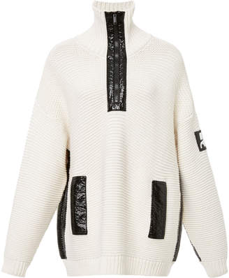 Courreges Vinyl-Detail Zip-Up Wool Sweater