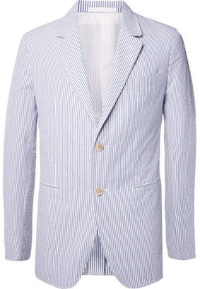 Caruso Blue Butterfly Slim-Fit Unstructured Striped Cotton-Seersucker Blazer