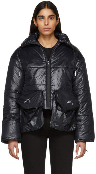 Black Down Oversized Pockets Puffa Coat