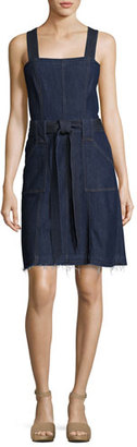7 For All Mankind Sleeveless Belted Denim Dress, Indigo $279 thestylecure.com
